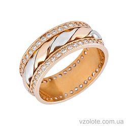 Золотое обручальное кольцо с фианитами (цирконием) (арт. 1079)