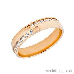 Золотое обручальное кольцо с фианитами (цирконием) Блеск
