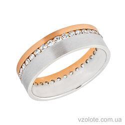 Золотое обручальное кольцо с фианитами (цирконием) (арт. 442963)