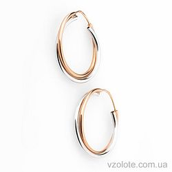 Серьги-кольца из красного и белого золота (арт. с00987)
