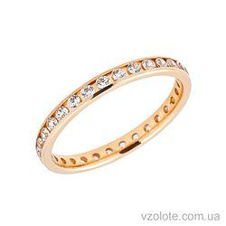 Золотое обручальное кольцо с фианитами (цирконием) (арт. 412813к)