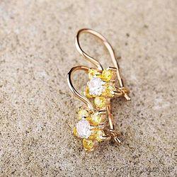 Серьги-петельки детские Цветочки из лимонного золота (арт. с01243)