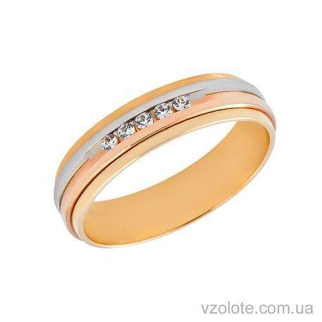 Золотое обручальное кольцо с фианитами (цирконием) (арт. 472681)
