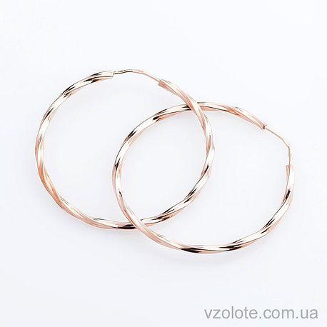 Золотые серьги-кольца рифленые 35 мм (арт. с01598)