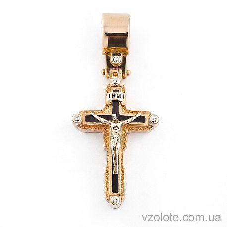 Золотой крест-мощевик с фианитами и эмалью (арт. 270060е)