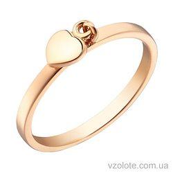 Золотое кольцо с подвеской в виде Сердца (арт. 1002890101)