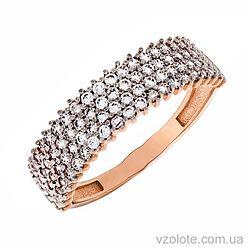 Золотое кольцо широкая дорожка с фианитами (арт. 1190950101)