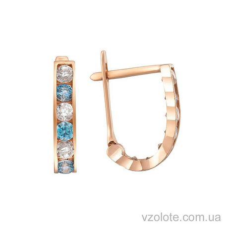 Золотые серьги-дорожки с белыми и голубыми фианитами (арт. 2101734101)