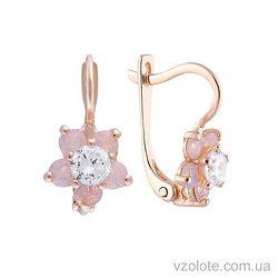 Золотые серьги с опалом и розовыми фианитами Цветы (арт. 2103189101)