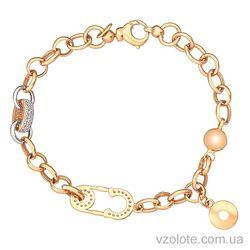 Золотой браслет комбинированный Карнавал (арт. 4212155112)