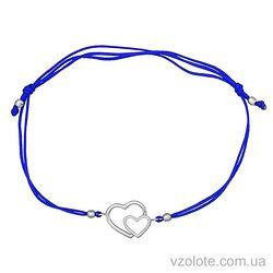 Браслет синяя шелковая нить Два сердца (арт. 4213043102)
