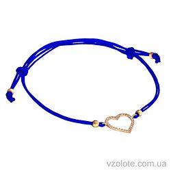Браслет синяя шелковая нить Сердечко с фианитами (арт. 4213045101)