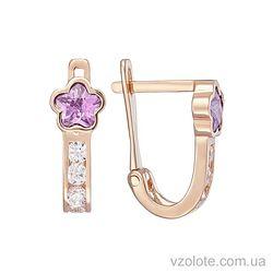 Золотые серьги с розовыми фианитами Цветочки (арт. 2102915101р)
