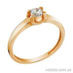 Золотое кольцо с фианитом (арт. 140401)