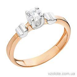 Золотое кольцо с фианитом Два сердца (арт. 140542)