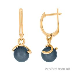 Золотые серьги с черным жемчугом (арт. 2191004101ч)