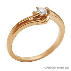Золотое кольцо с фианитом (арт. 1101468101)