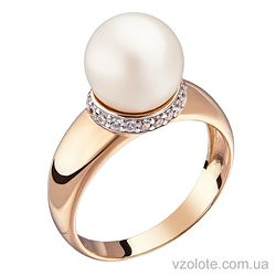 Золотое кольцо с белым жемчугом (арт. 1191010101)
