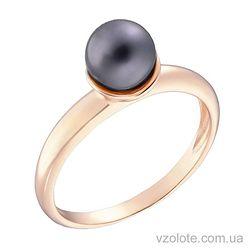 Золотое кольцо с черным жемчугом (арт. 1191008101)