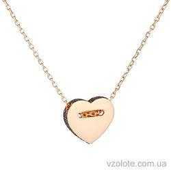 Золотое колье с фианитами Сердце (арт. 7102427101)