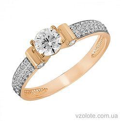 Золотое кольцо с фианитом (арт. 1191127101)