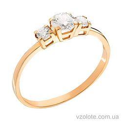 Золотое кольцо с фианитом (арт. 140239)