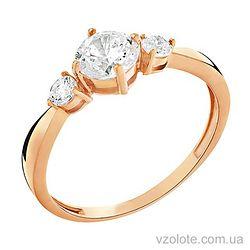 Золотое кольцо с фианитами (арт. 140713)