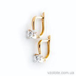 Золотые серьги с фианитами (арт. 110403ж)