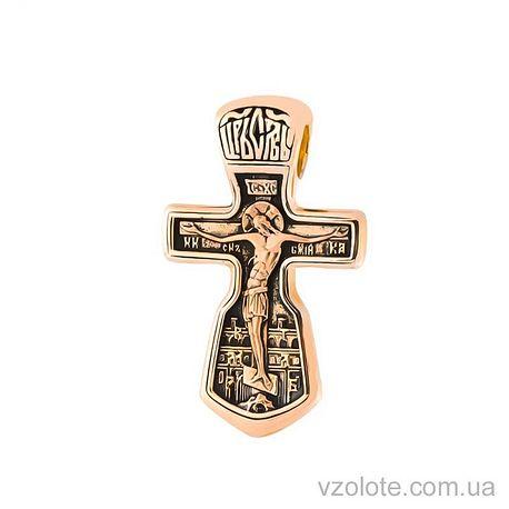 Золотой крест с чернением двусторонний с молитвой (арт. п00786)