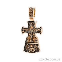 Золотой крест с чернением двусторонний Благоразумный разбойник (арт. п01652)