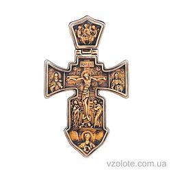 Золотой крест Морской двусторонний Распятие Ангел Хранитель (арт. п01841)