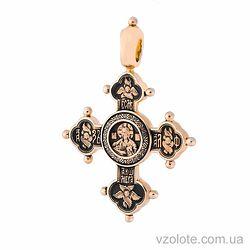 Золотой крест с чернением двусторонний Господь Вседержитель Похвала Богородице (арт. п01842)