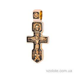 Золотой крест с чернением двусторонний Нерукотворный образ Серафим Саровский (арт. п01855)
