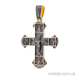 Золотой крест черненый с молитвой (арт. п02416)