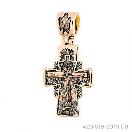 Золотой Константинов крест с чернением и иконой Семистрельная (арт. п02532)