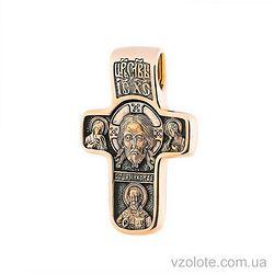 Золотой крест Спас Нерукотворный. Покрова Пресвятой Богородицы (арт. п02634)