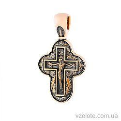 Золотой крест черненый с молитвой (арт. п02635)