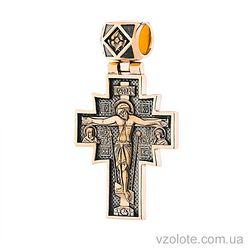 Золотой крест с чернением и иконой Неопалимая купина (арт. п02636)