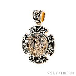 Золотой крест-ладанка с чернением Троица. Божья Матерь Знамение (арт. п02642)