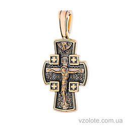 Золотой крест с чернением двусторонний Ангел Хранитель (арт. п02645)