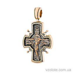 Золотой крест с чернением Введение во Храм Пресвятой Богородицы (арт. п02648)