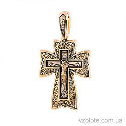 Золотой крест с чернением и Молитвой ко Господу (арт. п02677)