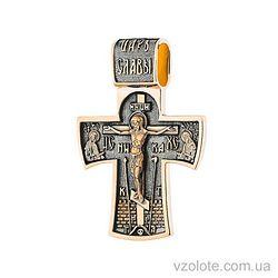 Золотой крест с чернением Ангел Хранитель (арт. п02885)
