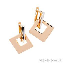 Золотые серьги с подвесами Ромб (арт. 105923)