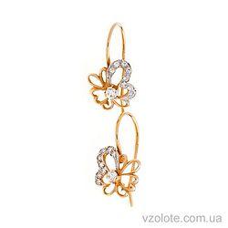 Золотые серьги-петельки Бантики с фианитами (арт. 131188)