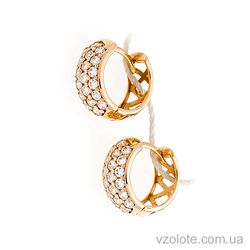 Золотые серьги-кольца Дорожки с фианитами (арт. 2121410)