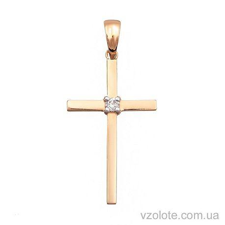 Золотой крестик с бриллиантом (арт. 3100787201)