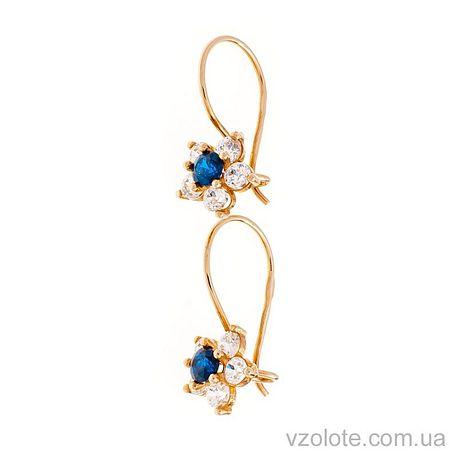 Золотые серьги-петельки Цветочки с фианитами (арт. 100086с)