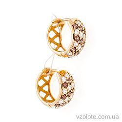 Золотые серьги-кольца Дорожки с красными фианитами (арт. 2121410к)