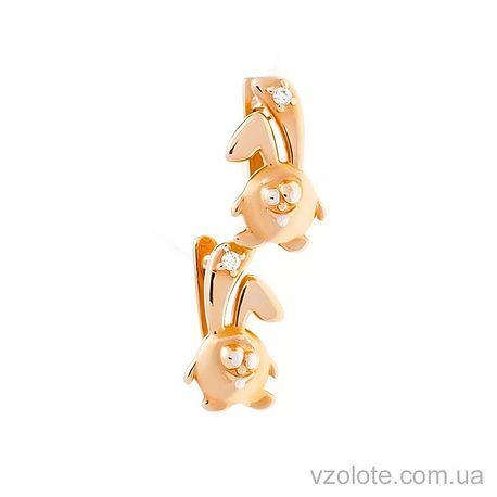 Детские золотые серьги Крош с фианитами (арт. 1-3-0975)